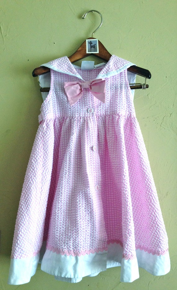 Pink Gingham Anchor Dress with Sailor Collar and Matching Hat 3T