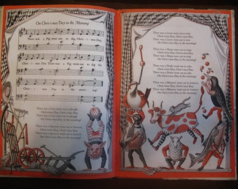 On Christmas Day in the Morning HC 1959 Stunning Illustrations Songs Stories Colorful Fun Book