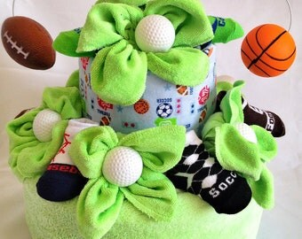 Two Tier Sports Theme Diaper Cake