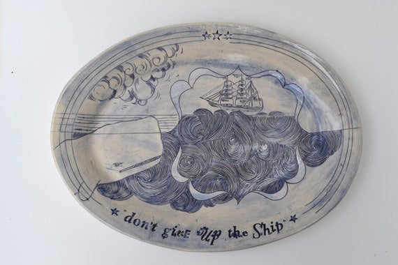 HOLD For CHRISTINE - The Ship & the Whale Oval Serving Platter