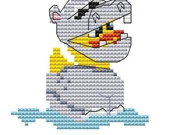 Animal Cross Stitch Kit 'Duck in a Hippopotamus Suit' Cross Stitch Kit- Duck - Hippo