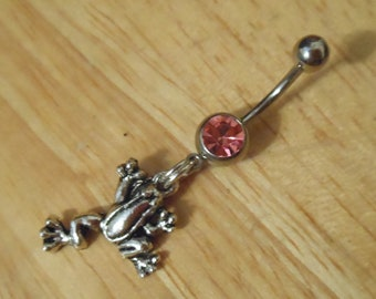 Belly button ring - Frog belly button ring - Belly Ring, Naval Ring - Body Jewelry