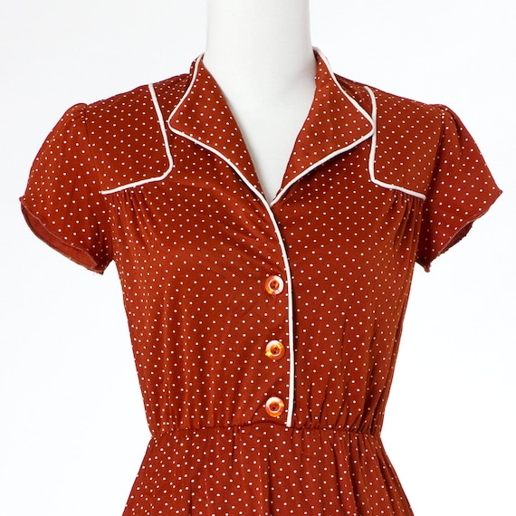70s Vintage Dress Polka Dots Brown Rust Mini XSmall Small