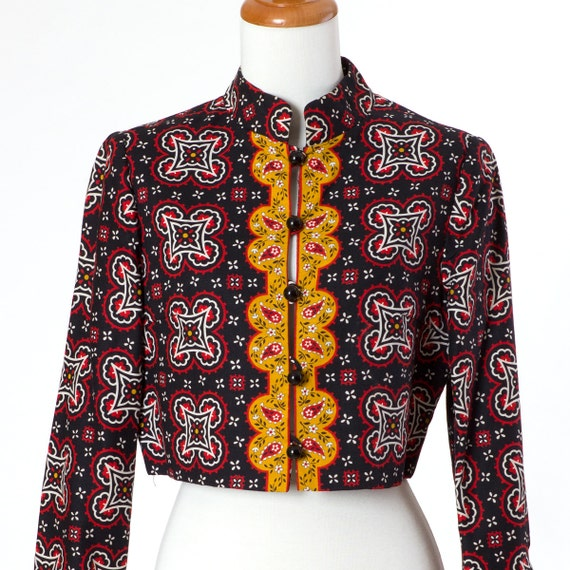 40s Vintage Jacket Cropped Ethnic Pattern Black Red Gold Small Medium