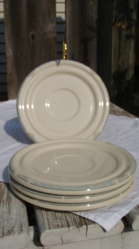 Lot of 4 Epoch Amigos Pattern Stoneware China Saucers, FREE SHIPPING