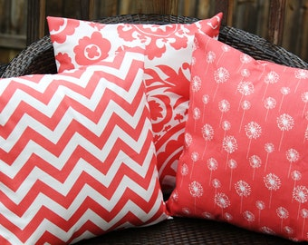 Coral Trio Pillow Covers