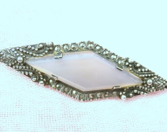 Art Deco Chalcedony Brooch, Periwinkle Blue Chalcedony and Marcasite Brooch, Elongated Diamond Shaped Silver Art Deco Brooch