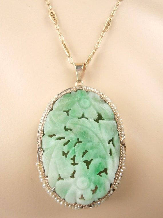 Reserve antique carved jade 14k pendant and chain for Pictures of jade jewelry