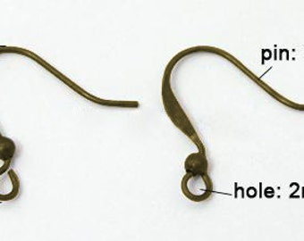 50pcs Antique Bronze Earring Hooks, 17mm high, FREE SHIPPING to USA