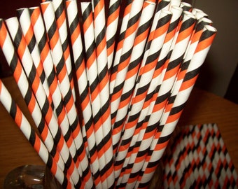 Retro Halloween Orange & Black  White Striped Paper Drinking Straws 25