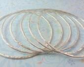 Sterling Silver Bangle - Sterling Silver 925 Stacking Bangles Bracelets Hammered Texture Handmade