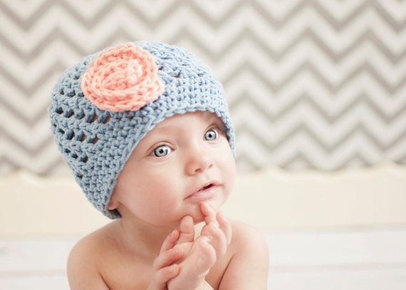 crochet hat, crochet kids hat, crochet baby hat, crochet hat with flower
