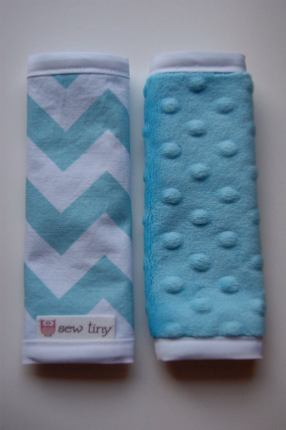 Riley Blake Blue Chevrons w/Turquoise Dimple Dot Minky Car Seat Strap Covers