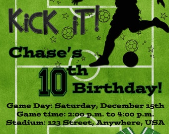 Soccer Birthday Party Invitation - Green