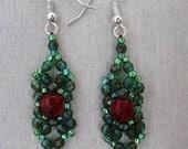 "Beaded earrings  ""Forest Heart"""