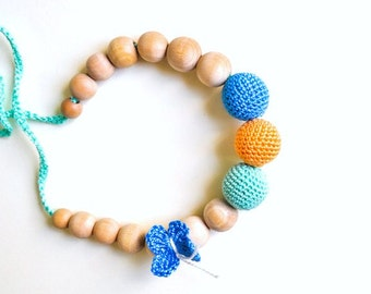 Nursing Necklace/Teething Necklace by SimplyaCircle-Breastfeeding Necklace-Eco-Friendly-Mint Peach Blue-Mother's day