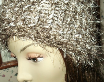 Chocolate Brown and White Knit Hat