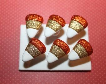 Glitter Candy Corn Push Pins/ Thumb Tacks Set of 6