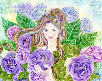 Fairy Art Mystic Lilac Roses Art Print, Lavender, Blue Roses Fairy art print, 11x14  art photo  print