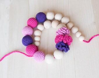Nursing necklace / Teething necklace / Crochet nursing necklace - Purple Fuchsia Pink