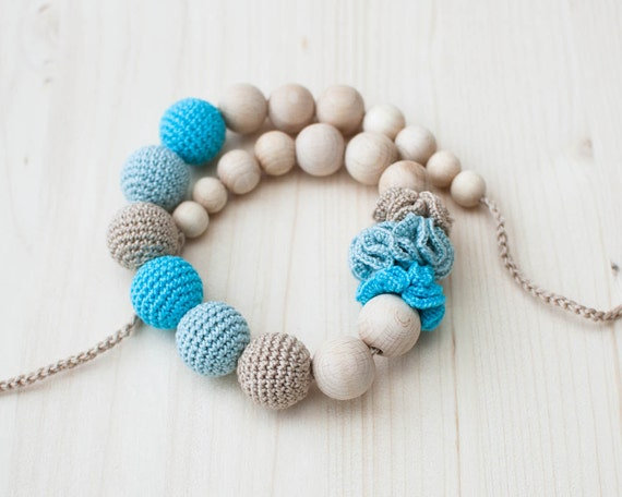 Nursing necklace / Teething necklace / Crochet nursing necklace - Beige, Mint blue, Aquamarine - Necklace with flowers