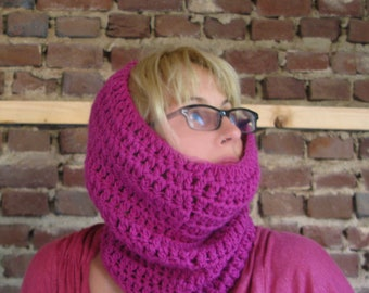 Chunnel Cowl -a crocheted, wide and long infinity scarf and snood for winter - magenta pink