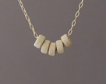 Five Gold Sparkle Bead Necklace