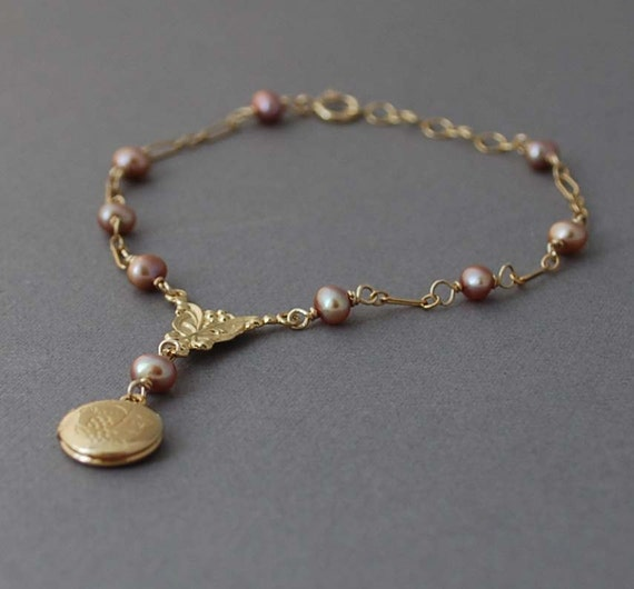 Gold Rosary Locket Bracelet with Rose Pink Pearl also in Silver