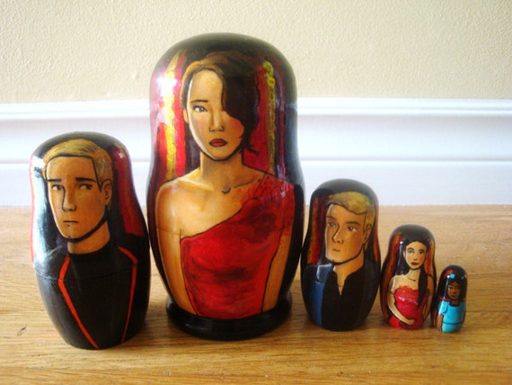 SALE - Set of Five Hunger Games Tributes Nesting Dolls