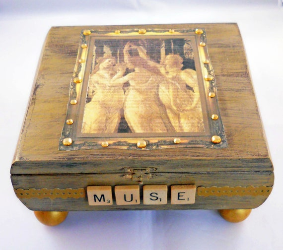 Altered Collage Cigar Box: The Three Graces with Gold Accents Art Muse  Botticelli Jewelry Box