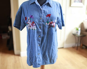 Women's Vintage Spring Bird and Floral Embroidered Denim Blouse
