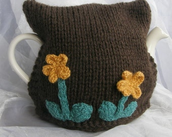 Brown Teapot Cosy Yellow Flower Decorations