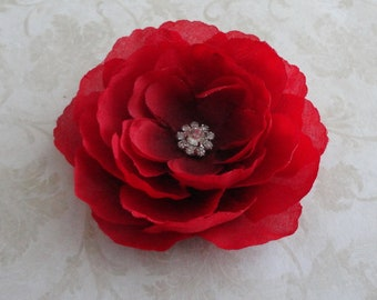 Red Flower Clip with Rhinestone - Womens Flower Clip - Girls Flower Clip -  Baby Flower Clip - Flower Hair Pin