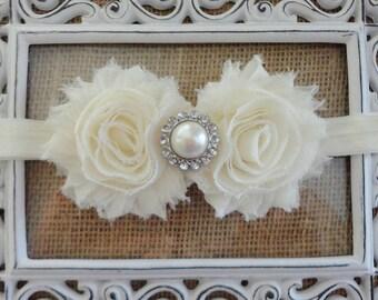 Baby Headband - Ivory Shabby Chiffon Flower Headband - Baby Dedication - Flower Girls  - Pearl  Rhinestone