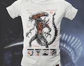 Alien (Xenomorph) Anatomy T-shirt White Orange