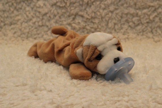 Dog bulldog beanie baby pacifier holder soothie animal pacimal - you choose the pacifier