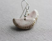 Soft pink dangle earrings - ceramic handmade