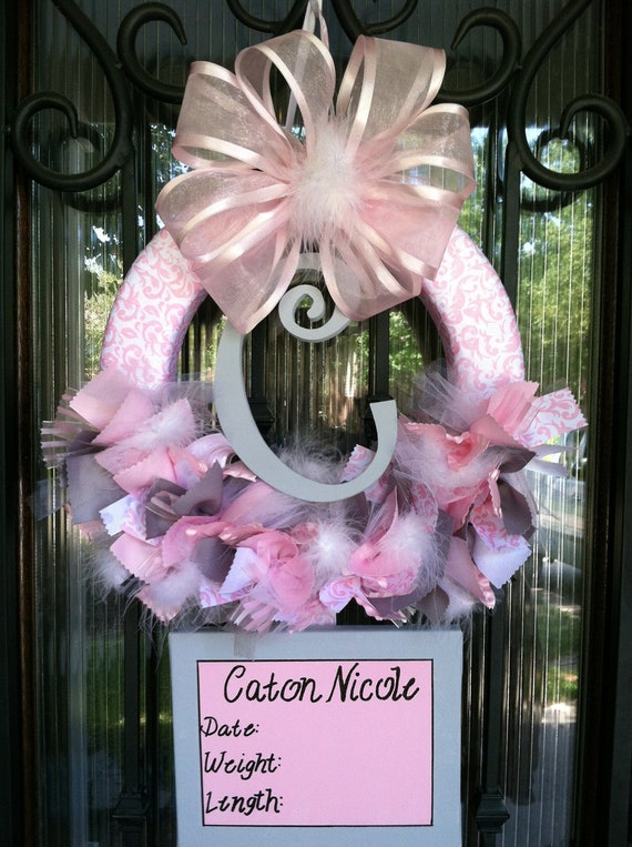 Baby ribbon wreath nursery hospital door baby shower by for Baby girl hospital door decoration
