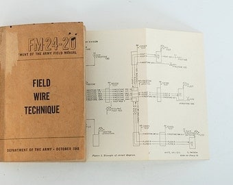 Field Wire Technique, Army Manual, 1948 Instructional Book, Army Field Manuel,  FM -24-20, For Him, Gift For DAD, Military, WWII,