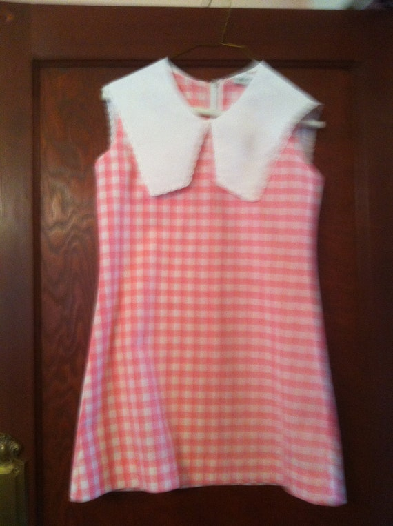 1960s Pink Checkered Dress