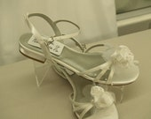 Wedding Satin Sandals Thin Straps  beautiful flower, ankle strap, almost flats, low heel white shoe