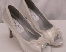 White Wedding High Heel Shoes Iridescent color embellished, Size 5.5, 8 white satin, peep toe, modern Cinderella