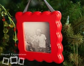 READY TO SHIP - 4x4 Playful unfinished picture frame - makes a great Christmas ornament