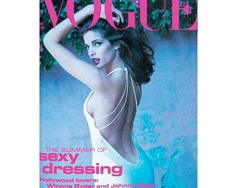 Vintage Vogue UK Magazine - May 1991 edition with photograph of Stephanie Seymour on cover