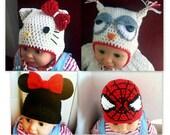 Hello Kitty Hat, Owl Hat, Spiderman Hat, Mickey/Minnie Mouse Hat CROCHET PATTERN, Beanie / Earflap, newborn / adult