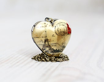 Paris Heart locket necklace - Love jewelry