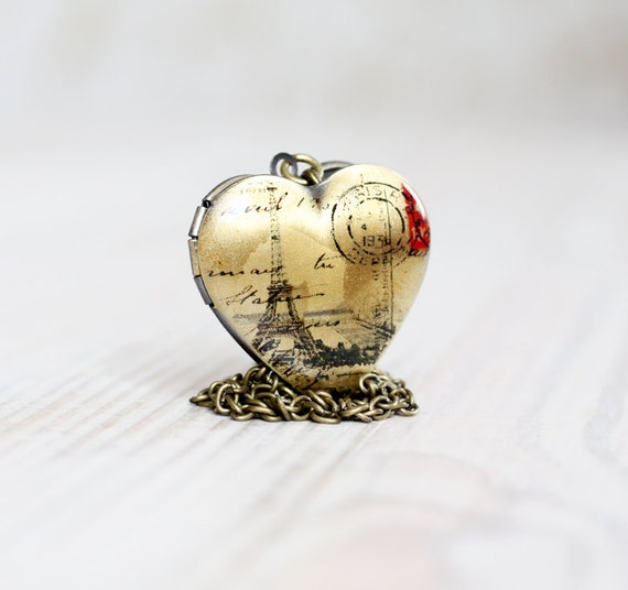 Paris Heart locket necklace - Love jewelry
