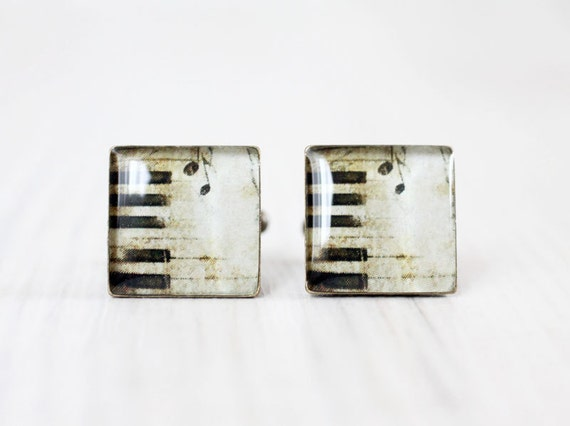 Men cufflinks - Music cufflinks - Vintage Piano keys - Cuff links for men