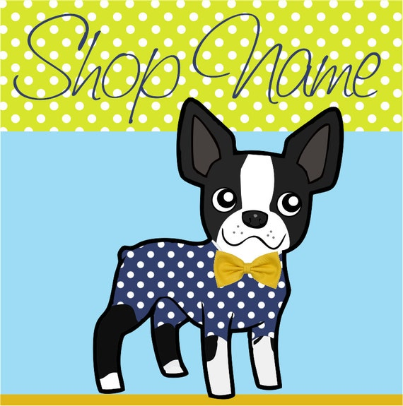 Sky Blue Lime Premade Etsy Shop Set Etsy Cover Photo Dog in Yellow Bow Tie and Tailcoat polka dots Animal Shop Graphic design Blog Facebook