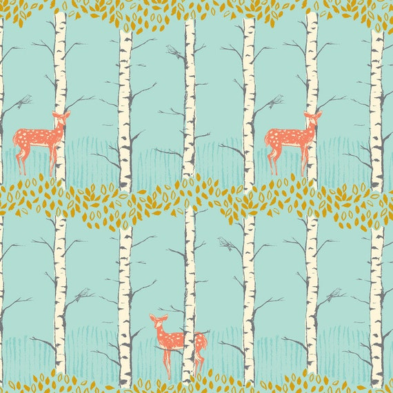 Timber & Leaf -  Fawn in Birch Blue - Sarah Watts for Blend Fabrics- 1/2 yard, Add'l Avail